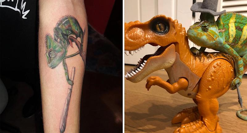 A tattoo of Winston can be seen on a fans arm (left). The chameleon, wearing a hat, is riding a toy dinosaur.
