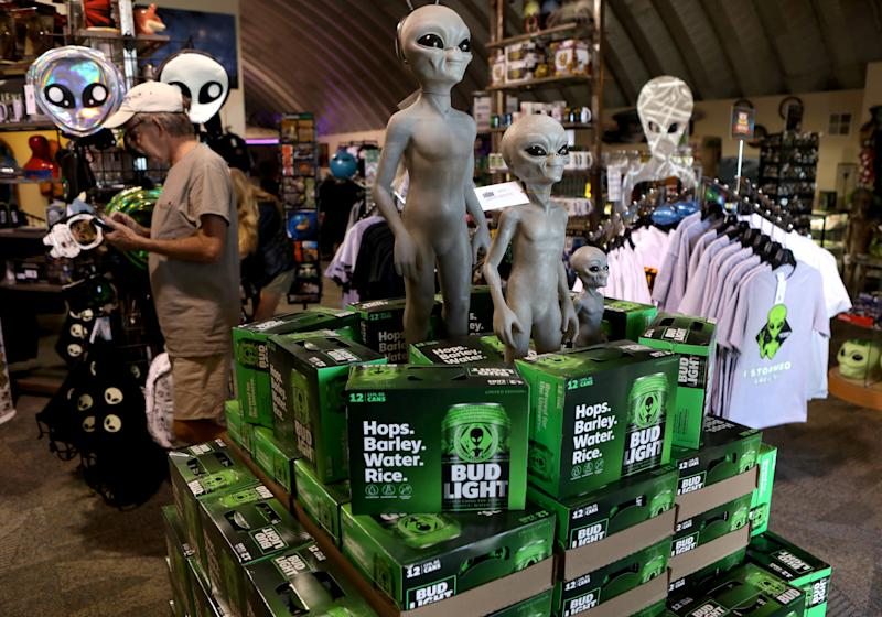 Boxes of alien themed beer are placed at the Alien Research Center in Hiko, as an influx of tourists responding to a call to 'storm' Area 51, a secretive U.S. military base believed by UFO enthusiasts to hold government secrets about extra-terrestrials, is expected in Rachel, Nevada, Sept. 19, 2019. (Photo: Jim Urquhart/Reuters)