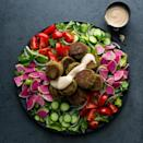 <p>Deep-fried falafel can be a total grease bomb. But these pan-seared falafel still get crispy in just a few tablespoons of oil with equally satisfying results. Be sure to use dried, instead of canned, chickpeas in this healthy recipe--canned chickpeas add too much moisture.</p>