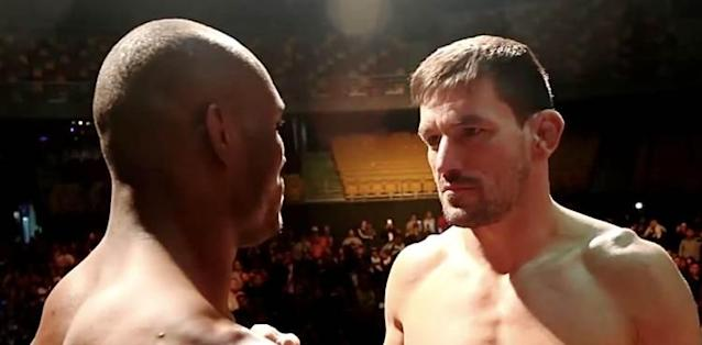 Kamaru Usman and Demian Maia UFC Chile weigh-in face-off