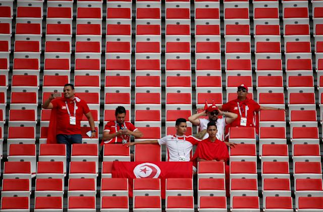 Soccer Football - World Cup - Group G - Belgium vs Tunisia - Spartak Stadium, Moscow, Russia - June 23, 2018 Tunisia fans inside the stadium before the match REUTERS/Christian Hartmann TPX IMAGES OF THE DAY