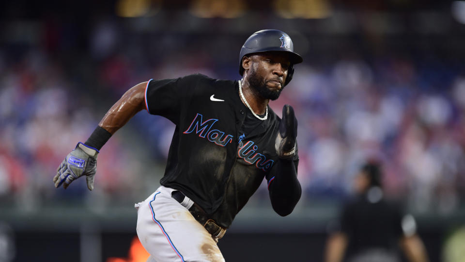 Miami Marlins' Starling Marte in action during a baseball game against the Philadelphia Phillies, Friday, July 16, 2021, in Philadelphia. (AP Photo/Derik Hamilton)