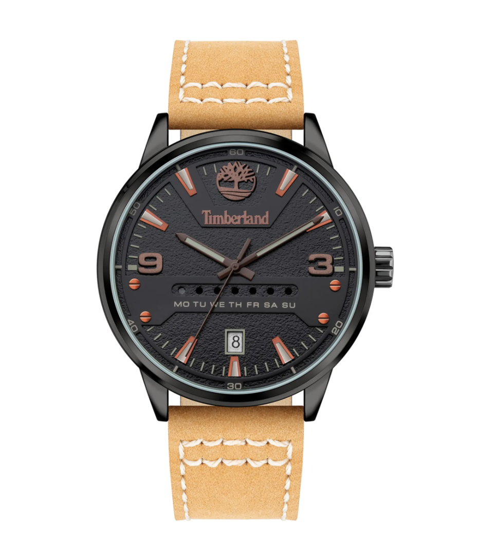 timberland watch with tan straps and black watch face with red details