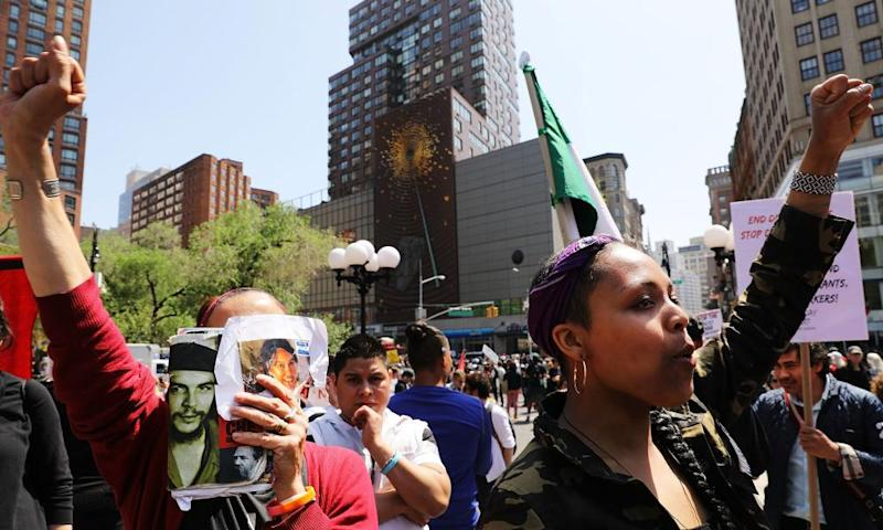 Protesters gather in Union Square in New York as part of the traditional May Day marches.