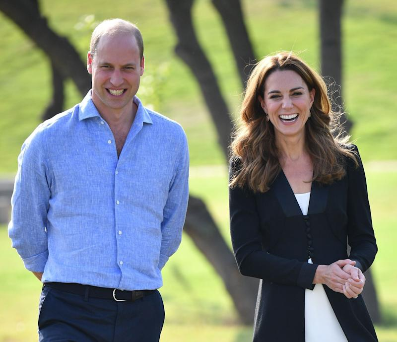 Catherine, Duchess of Cambridge visits an Army Canine Centre with Prince William, Duke of Cambridge, where the UK provides support to a programme that trains dogs to identify explosive devices, during day five of their royal tour of Pakistan on October 18, 2019 in Islamabad, Pakistan. (Photo by Pool/Samir Hussein/WireImage)