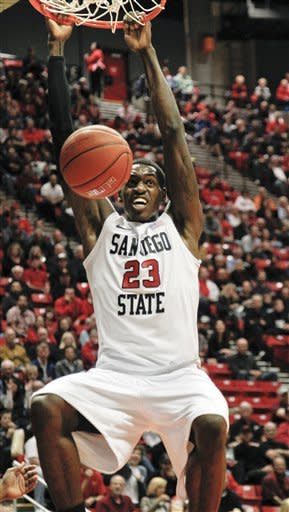 San Diego State forward Deshawn Stephens dunks against Texas Southern during the first half of their NCAA college basketball game, Monday Dec. 3, 2012, in San Diego. (AP Photo/Lenny Ignelzi)