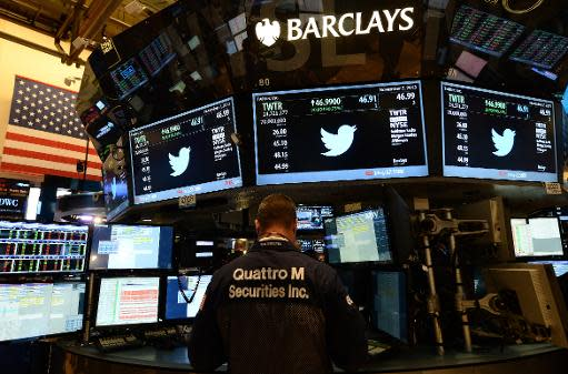 Twitter closes up 72 percent in Wall Street debut