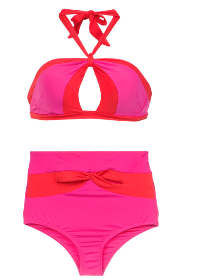 Pink and red colour block high waisted bikini bottoms and bikini top