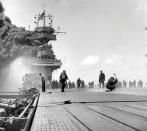 FILE PHOTO: The USS Yorktown, shortly after being hit by three Japanese bombs during the Battle of Midway