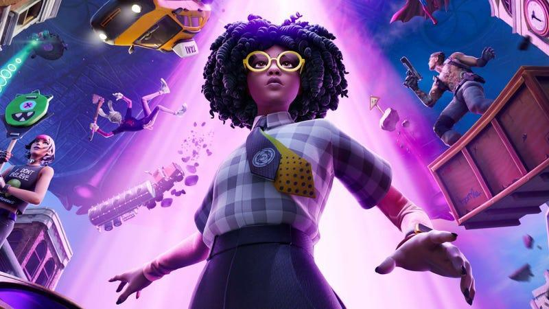 A Fortnite character watches as the world around her is sucked up into a giant UFO.