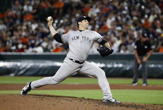 New York Yankees starting pitcher Luis Cessa throws to the Baltimore Orioles in the fourth inning of the second baseball game of a doubleheader, Monday, July 9, 2018, in Baltimore. (AP Photo/Patrick Semansky)