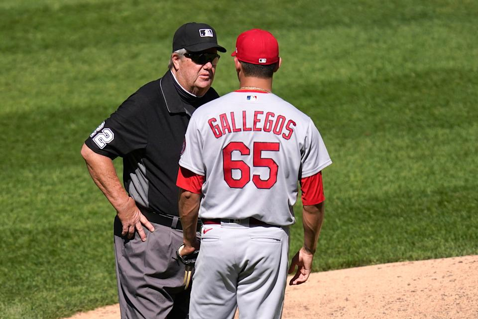 On May 26, umpire Joe West asked Cardinals relief pitcher Giovanny Gallegos to change caps because he suspected Gallegos may have had an illegal substance on it.