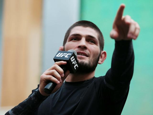 Khabib speaks during an open workout in Abu Dhabi: Reuters