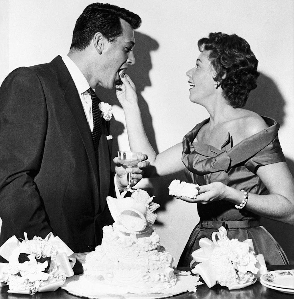 "<p>Sadly, studios forced many LGBTQ actors into heterosexual marriages. Rock Hudson was forced to marry his agent's secretary, Phyllis Gates. It wasn't until he <a href=""https://www.biography.com/actor/rock-hudson"" rel=""nofollow noopener"" target=""_blank"" data-ylk=""slk:publicly announced his AIDS diagnosis"" class=""link rapid-noclick-resp"">publicly announced his AIDS diagnosis</a> that he revealed he was homosexual. </p>"