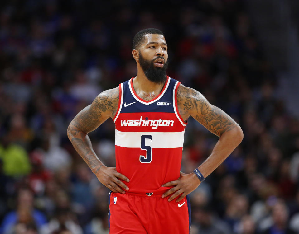"<a class=""link rapid-noclick-resp"" href=""/nba/teams/was"" data-ylk=""slk:Wizards"">Wizards</a> forward <a class=""link rapid-noclick-resp"" href=""/nba/players/4894/"" data-ylk=""slk:Markieff Morris"">Markieff Morris</a> will miss at least six weeks with neck and upper back stiffness, the team announced on Thursday. (AP/Duane Burleson)"