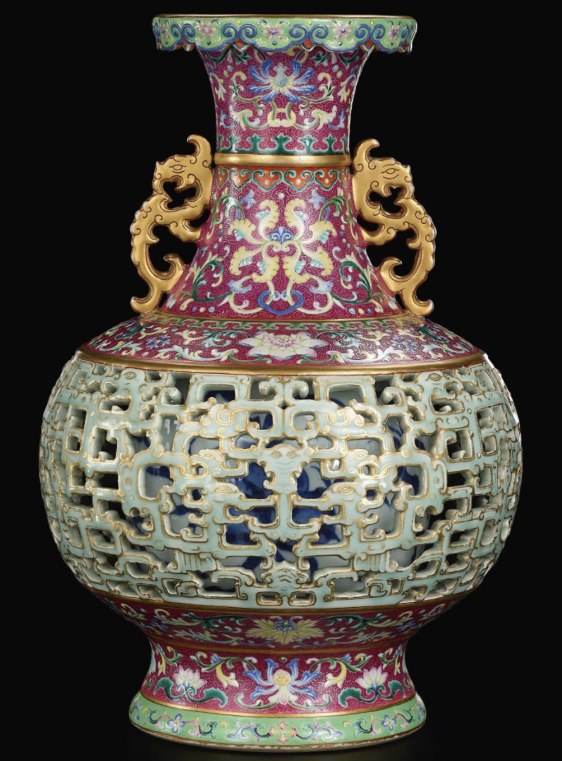 Photo shows The Harry Garner Reticulated Vase which has been purchased for millions.