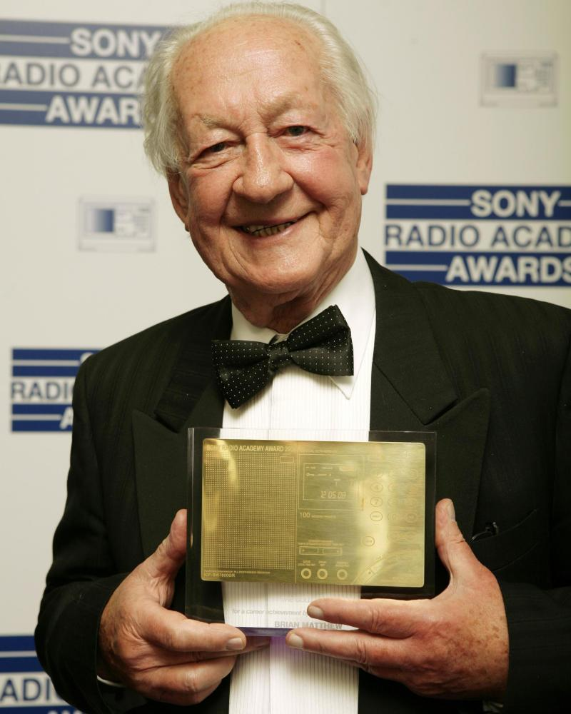 Brian Matthew in 2008 when he was presented with a Sony Radio Gold Award.