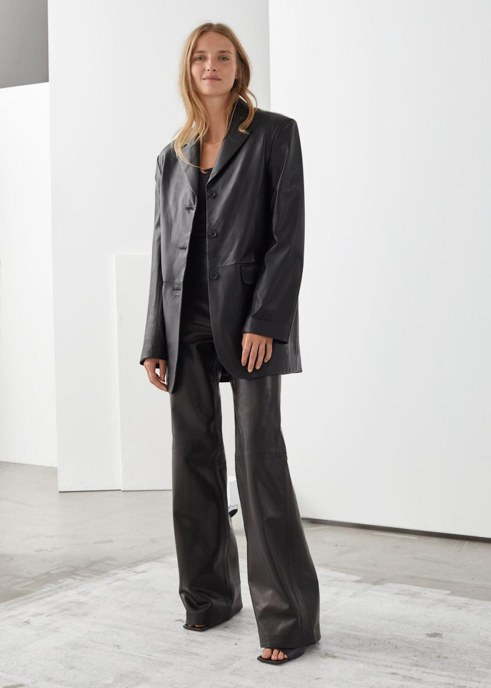 Oversized leather blazer, £265, & Other Stories