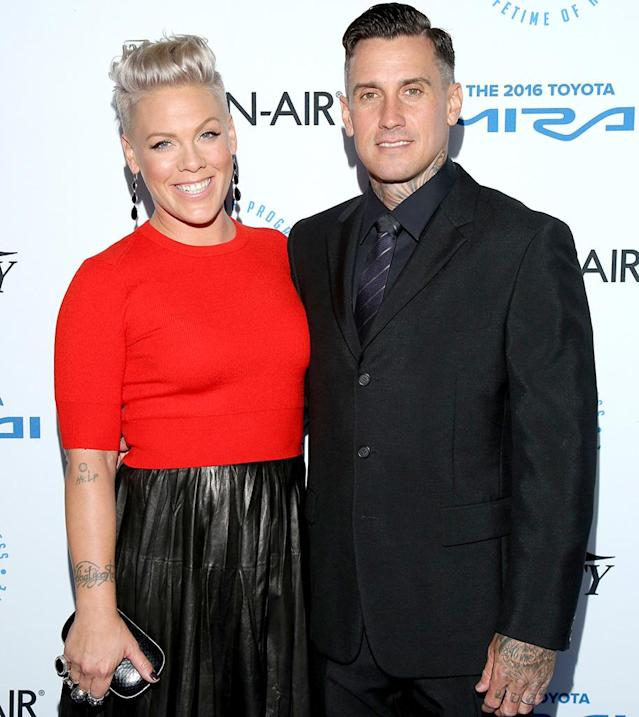 Pink and Carey Hart. (Photo: Mathew Imaging/WireImage)