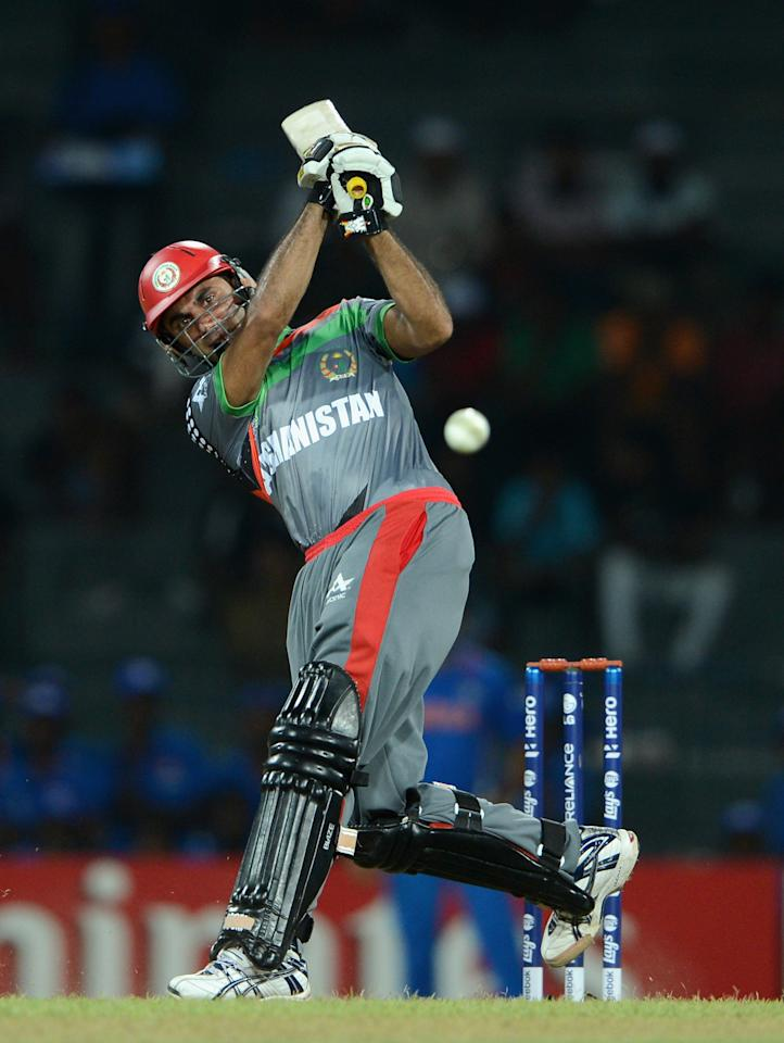 COLOMBO, SRI LANKA - SEPTEMBER 19:  Dawlat Zadran of Afghanistan bats during the  ICC World Twenty20 2012: Group A match between India and Afghanistan at R. Premadasa Stadium on September 19, 2012 in Colombo, Sri Lanka.  (Photo by Gareth Copley/Getty Images,)