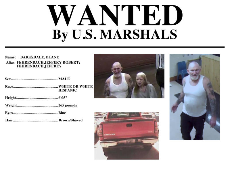 FILE - This undated file image provided by the U.S. Marshals Service shows Blane Barksdale, 56, and Susan Barksdale, 59. Authorities believe husband and wife fugitives wanted in the killing an Arizona man have been able to stay under the radar for more than a week because they are getting help from multiple people. David Gonzales, the U.S. Marshal for Arizona, said Tuesday, Sept. 3, 2019, that deputy marshals are looking at several possible persons of interest in the search for Blane Barksdale and Susan Barksdale. (U.S. Marshals Service via AP, File)