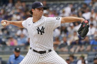 New York Yankees pitcher Gerrit Cole delivers against the Minnesota Twins in the first inning of a baseball game, Saturday, Aug. 21, 2021, in New York. (AP Photo/Mary Altaffer)