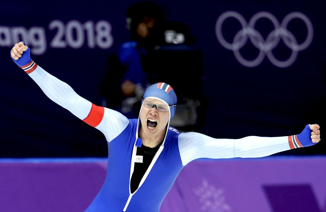 <p>Gold medalist Havard Lorentzen of Norway celebrates setting a new Olympic record during the Men's 500m Speed Skating race on Feb. 19, 2018 at the 2018 Winter Olympics in PyeongChang, South Korea.<br /> (AP Photo/Petr David Josek) </p>