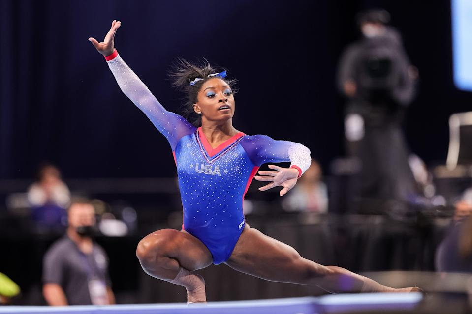 Simone Biles, competing on the floor exercise during the U.S. gymnastics trials, is headed to her second Olympics.