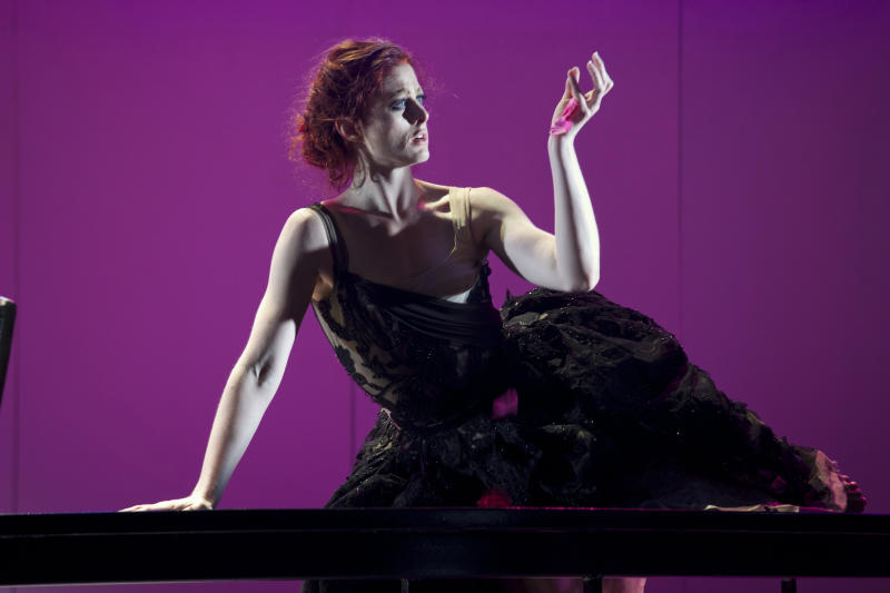 In this May 10, 2012 photo provided by the New York City Opera Catherine Miller is in the role of Thanatos during a dress rehearsal of the New York City Opera's Orpheus, at El Museo del Barrio in New York. (AP Photo/NYC Opera, Pavel Antonov)