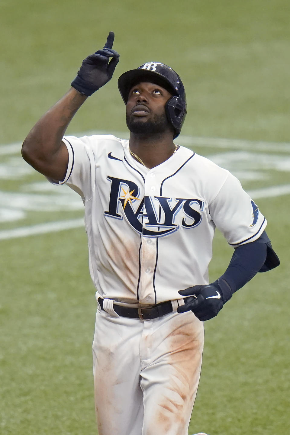 Tampa Bay Rays' Randy Arozarena reacts after his solo home run off New York Yankees starting pitcher Domingo German during the third inning of a baseball game Saturday, April 10, 2021, in St. Petersburg, Fla. (AP Photo/Chris O'Meara)