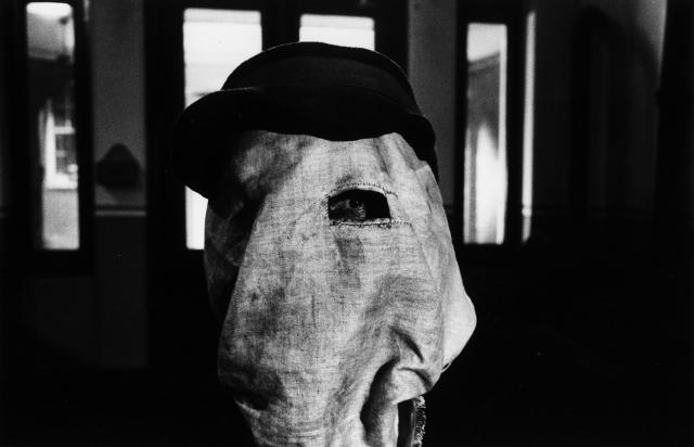 Film still of actor John Hurt wearing a cloth sack over his head, in a scene from the film 'The Elephant Man', 1980. (Photo by Stanley Bielecki Movie Collection/Getty Images)