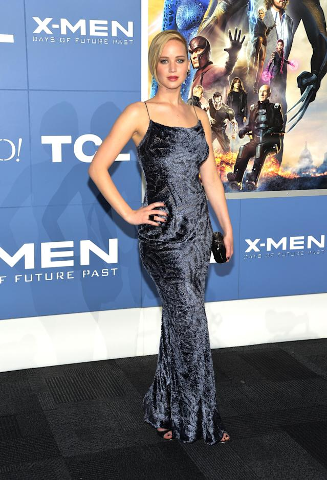 """<p>Lawrence stars as the beautiful blue mutant Mystique in her second go-round in the successful <a href=""""https://www.yahoo.com/entertainment/tagged/x-men"""" data-ylk=""""slk:X-Men"""" class=""""link rapid-noclick-resp""""><i>X-Men </i></a>franchise. She stops for photographers at the New York premiere on May 10, 2014. (Photo: Getty Images) </p>"""