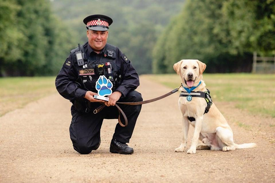 Pc Colin Nash and two-year-old labrador Elvis (Penny Bird/Thin Blue Paw Awards/PA) (PA Media)
