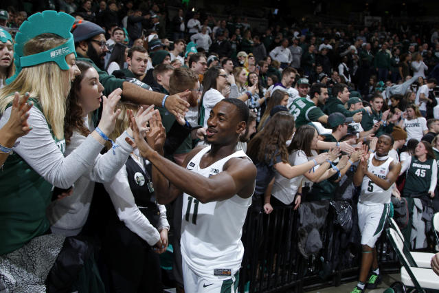 Michigan State's No. 3 seed suggests the Spartans may have a hard time leapfrogging all the way to the top seed line by Selection Sunday. (AP Photo/Al Goldis)
