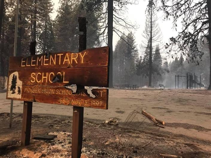 Walt Tyler Elementary School in Grizzly Flats, Calif., burned to the ground Aug. 17 in the Caldor wildfire.