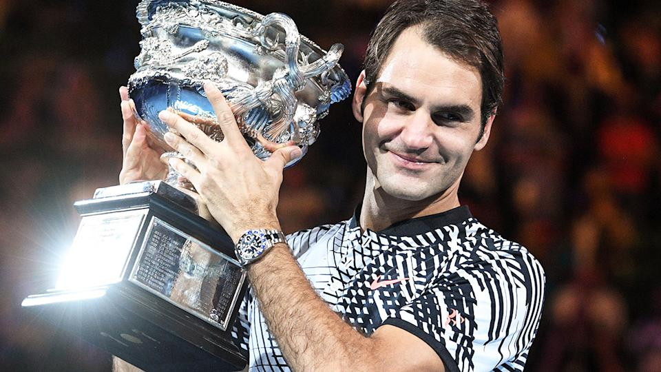 Roger Federer, pictured here after winning the 2017 Australian Open.