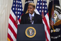 Ashton Mota of the GenderCool Project speaks during an event to commemorate Pride Month, in the East Room of the White House, Friday, June 25, 2021, in Washington. (AP Photo/Evan Vucci)
