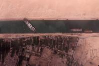 Ever Given container ship blocks Egypt's Suez Canal in a BlackSky satellite image