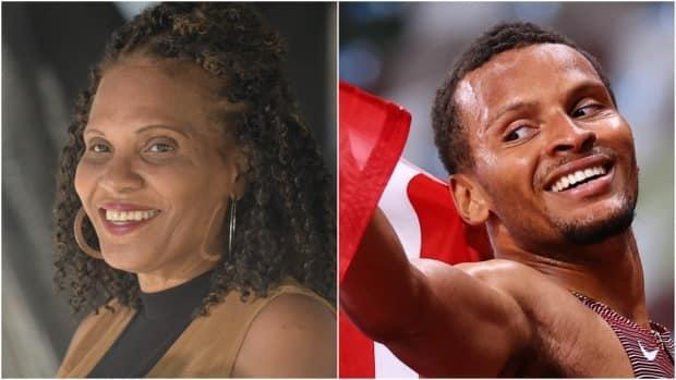 Beverley De Grasse says she never doubted that her son Andre De Grasse would pull away to win gold in the men's 200-metre race in Tokyo on Wednesday. (Christopher Katsarov/The Canadian Press, Lucy Nicholson/Reuters - image credit)