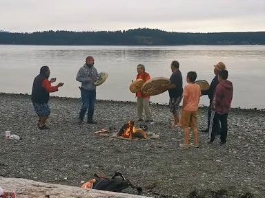 The 7 Generations Steward Society gathered to hold a memorial for 215 children buried at the site of the Kamloops Indian Residential School (Facebook)