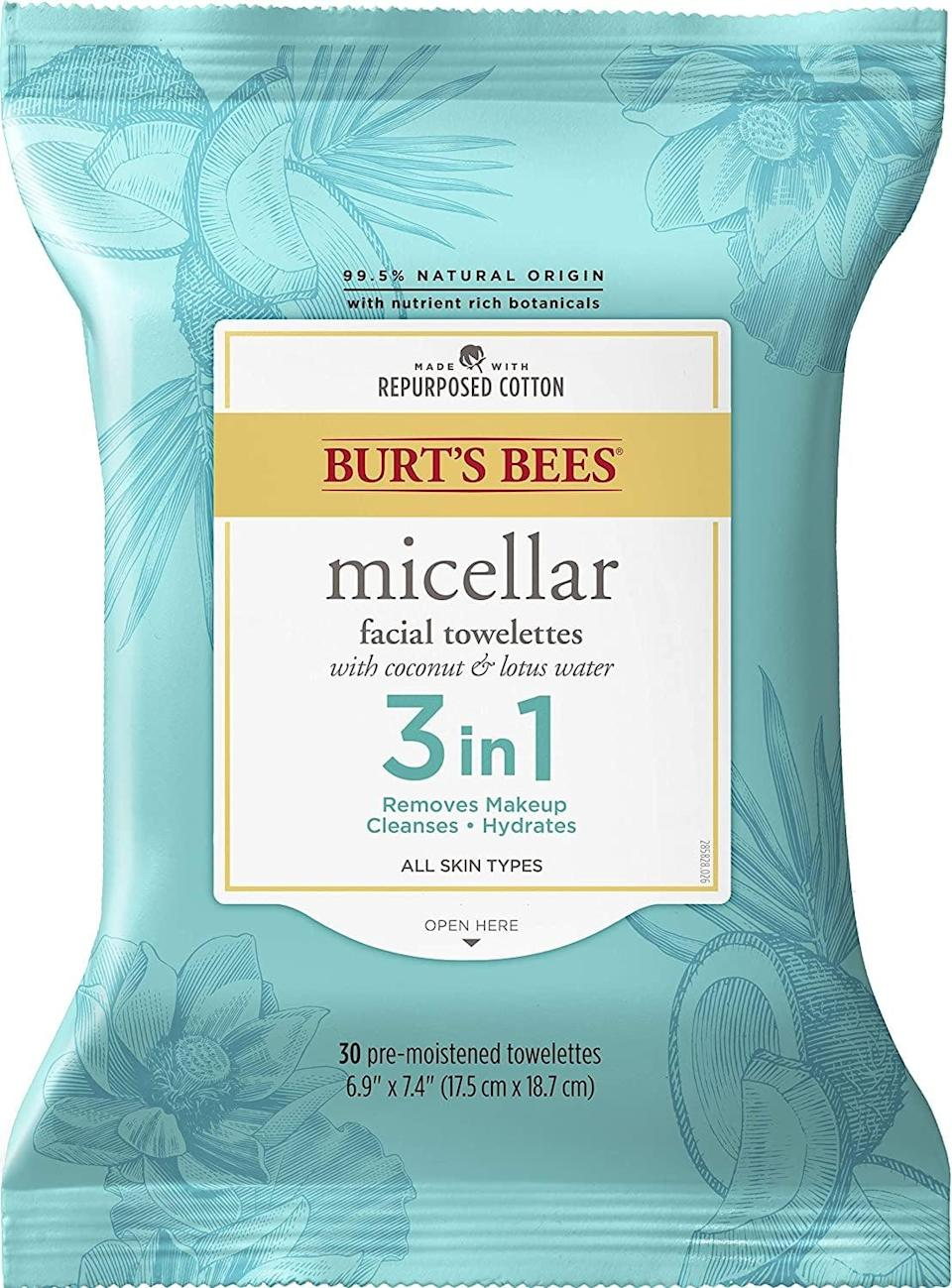 <p>The <span>Burt's Bees 3-in-1 Facial Cleanser Towelettes and Makeup Remover Wipes</span> ($5) are made from repurposed cotton and hydrating ingredients such as coconut water and lotus water. </p>