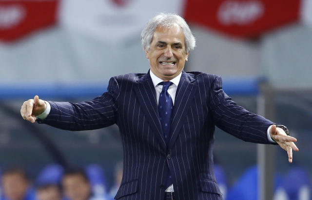 FILE - In this March 31, 2015 file photo, Japan's coach Vahid Halilhodzic reacts during an international friendly soccer match between Japan and Uzbekistan in Tokyo. Halilhodzic is expected to be dismissed as Japan's head coach on Monday, April 9, 2018, following two disappointing international friendly matches and with the World Cup opening in just over two months. (AP Photo/Shizuo Kambayashi, File)