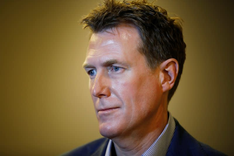 Christian Porter Australia's Attorney General, speaks during an interview with Reuters at the Israel Australia Strategic Dialogue conference in Jerusalem
