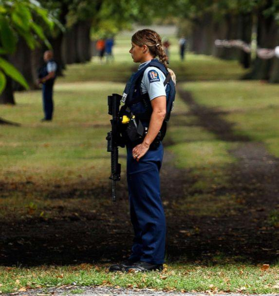 PHOTO: Police officers guard the area close to the Masjid al Noor mosque after a shooting incident in Christchurch, March 15, 2019. (Tessa Burrows/AFP/Getty Images)