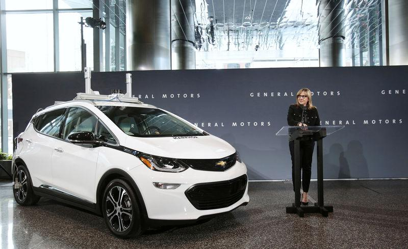 General Motors Chairman and CEO Mary Barra announces that Chevrolet will begin testing a fleet of Bolt autonomous vehicles in Michigan during a news conference in Detroit