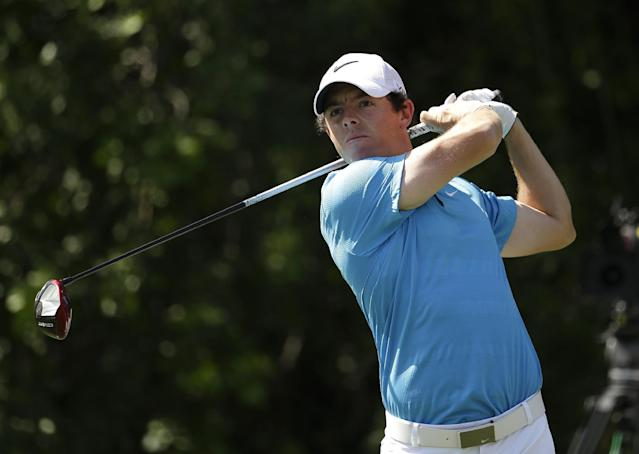 Rory McIlroy, of Northern Ireland, tees off on the third hole during the final round of the Honda Classic golf tournament, Sunday, March 2, 2014, in Palm Beach Gardens, Fla. (AP Photo/Lynne Sladky)