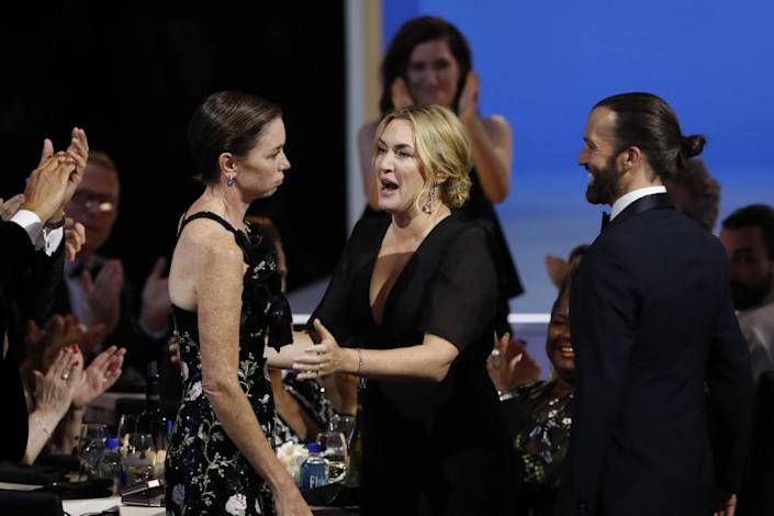 LOS ANGELES - SEPTEMBER 19: Julianne Nicholson and Kate Winslet from 'Mare of Easttown' appears at the 73RD EMMY AWARDS, broadcast Sunday, Sept. 19 (8:00-11:00 PM, live ET/5:00-8:00 PM, live PT) on the CBS Television Network and available to stream live and on demand on Paramount+. (Photo by Cliff Lipson/CBS via Getty Images)