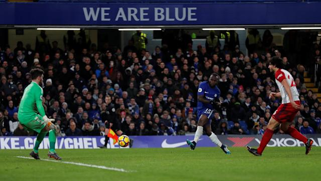 "Soccer Football - Premier League - Chelsea vs West Bromwich Albion - Stamford Bridge, London, Britain - February 12, 2018 Chelsea's Victor Moses scores their second goal REUTERS/Eddie Keogh EDITORIAL USE ONLY. No use with unauthorized audio, video, data, fixture lists, club/league logos or ""live"" services. Online in-match use limited to 75 images, no video emulation. No use in betting, games or single club/league/player publications. Please contact your account representative for further details."