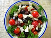 <p><b>Greek Salad:</b></p><p> Every bite of this refreshing Mediterranean salad is a treat to the taste buds. This low-calorie, high nutrient salad provides the much needed Vitamins A and C to your body along with potassium, iron and other minerals. The secret of the classic Greek salad lies in its ingredients. To make this salad you will need crisp cucumbers, juicy tomatoes, creamy feta cheese, tangy black olives and some good quality extra virgin olive oil. You can also include onions and capsicum to make it healthier. Toss the cut veggies in a big bowl and season with grated cheese, salt, red wine vinegar and extra virgin oil. You can serve this classic Greek salad with a slice of feta cheese on top.</p>