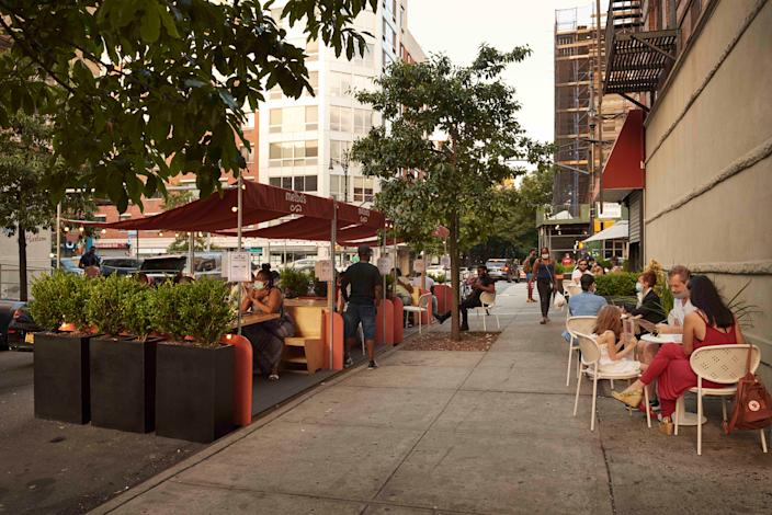 """<div class=""""caption""""> Melba's, in Harlem, received a new, safer outdoor-seating design by the Rockwell Group as part of the firm's pro bono DineOut NYC project. </div> <cite class=""""credit"""">Photo: Emily Andrews for Rockwell Group</cite>"""